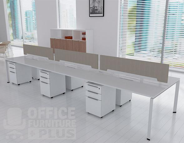 Six Seat Double Row Bench Desk Frame Office Furniture Plus